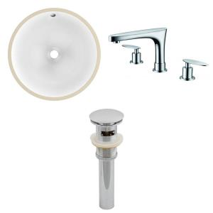 15.25 Inch Round Undermount Sink Set with 3H8-in. Faucet and Overflow Drain Included