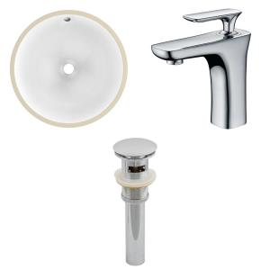 15.25 Inch Round Undermount Sink Set with 1 Hole Faucet and Overflow Drain Included