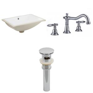 18.25 Inch Rectangle Undermount Sink Set with 3H8-in. Faucet and Overflow Drain Included