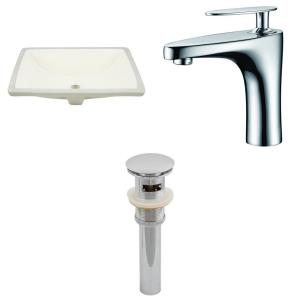 18.25 Inch Rectangle Undermount Sink Set with 1 Hole Faucet and Overflow Drain Included
