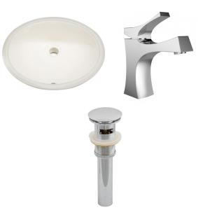 19.5 Inch Oval Undermount Sink Set with 1 Hole Faucet and Overflow Drain Included