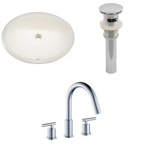 19.5 Inch Oval Undermount Sink Set with 3H8-in. Faucet and Overflow Drain Included
