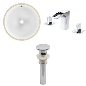 15.75 Inch Round Undermount Sink Set with 3H8-in. Faucet and Overflow Drain Included