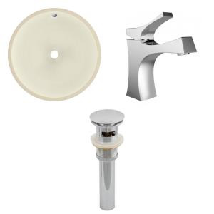 15.5 Inch Round Undermount Sink Set with 1 Hole Faucet and Overflow Drain Included