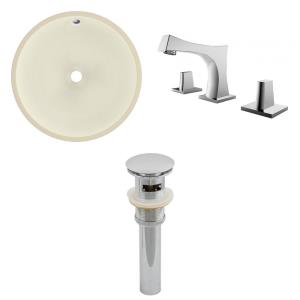15.5 Inch Round Undermount Sink Set with 3H8-in. Faucet and Overflow Drain Included