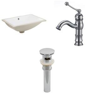 20.75 Inch Rectangle Undermount Sink Set with 1 Hole Faucet and Overflow Drain Included