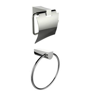 7.09 Inch Towel Ring with Toilet Paper Holder Accessory Set