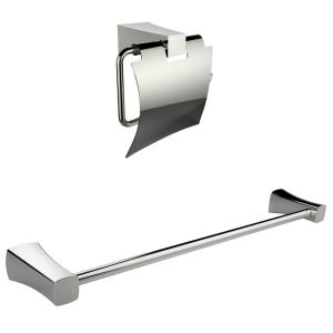 24.67 Inch Toilet Paper Holder with Single Rod Towel Rack Accessory Set