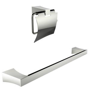 24.37 Inch Toilet Paper Holder with Single Rod Towel Rack Accessory Set