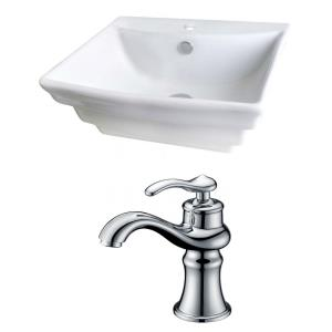 """19.75"""" Above Counter Vessel Set For 1 Hole Center Faucet - Faucet Included"""