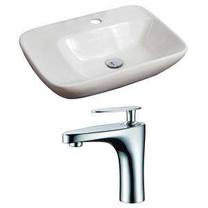 23.5 Inch Above Counter Vessel Set For 1 Hole Center Faucet - Faucet Included