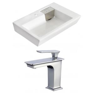 """26"""" Above Counter Vessel Set For 1 Hole Center Faucet - Faucet Included"""