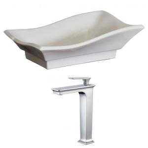 "20"" Above Counter Vessel Set For Deck Mount Drilling - Faucet Included"