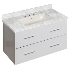 "Xena - 36"" Wall Mount Vanity Set For 3H8-in. Drilling with Top and Undermount Sink"