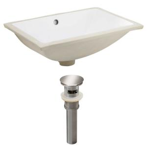 20.75 Inch Rectangle Undermount Sink Set with Overflow Drain Included