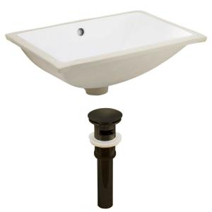 18.25 Inch Rectangle Undermount Sink Set with Overflow Drain Included