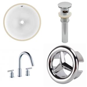 16.5 Inch 3H8-in. Round Undermount Sink Set with Overflow Drain Included
