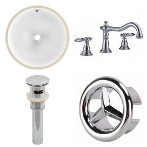 15.25 Inch 1 Hole Round Undermount Sink Set with Overflow Drain Included