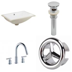18.25 Inch 3H8-in. Rectangle Undermount Sink Set with Overflow Drain Included