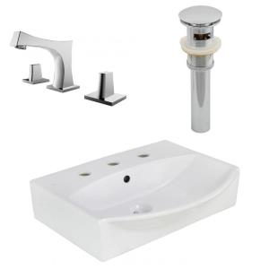 19.5 Inch Wall Mount Vessel Set For 3H8-in. Center Faucet - Faucet Included