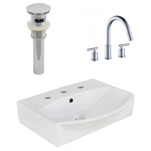 """19.5"""" Wall Mount Vessel Set For 3H8-in. Center Faucet - Faucet Included"""