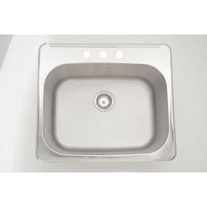 25 Inch Drop-In Laundry Sink For 3H8-in. Center Drilling