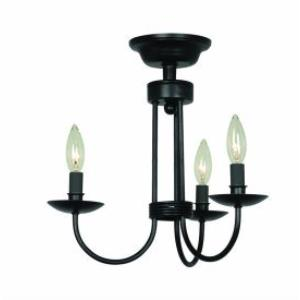 Wrought Iron - Three Light Flush Mount