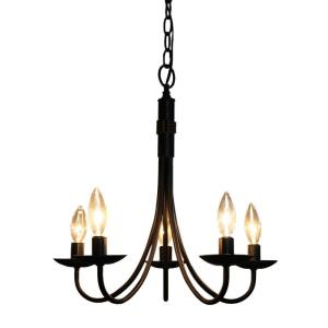 Wrought Iron-5 Light Chandelier-5.25 Inches Wide by 11.5 Inches High