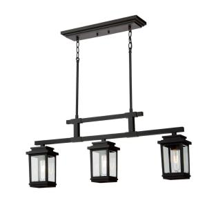 Freemont-3 Light Outdoor Linear Chandelier in Transitional Style-5 Inches Wide by 9.5 Inches High