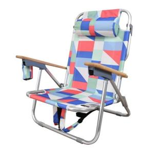 """Astella - 32.5"""" Outdoor Aluminum Frame 2-in-1 Beach Patio Sling Chair with Two Large Back Storage Pouches"""