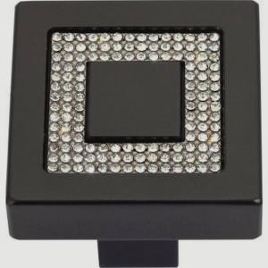 Pave Collection 1.40 Inch Square Inset Crystal Cabinet Knob
