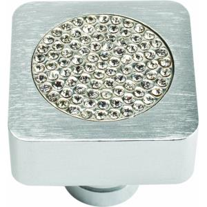 Pave Collection 1 Inch Square Small Inset Crystal Cabinet Knob