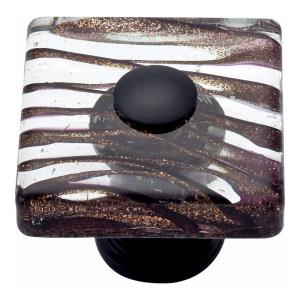 Dream Glass Collection 1.50 Inch Milky Way Square Cabinet Knob