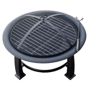 """30"""" Round Wood Burning Firepit With Cooking Grate-Poker/Cover Included"""