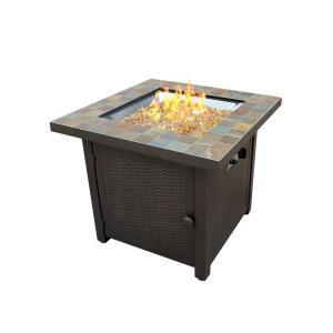 "30"" Square Slate Fire Pit"
