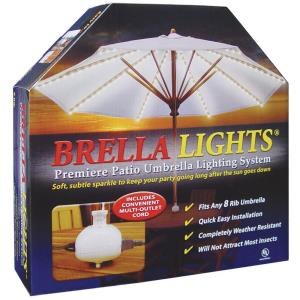 "Brella Lights - 12"" 8 Rib Patio Umbrella Lighting System With Power Pod"