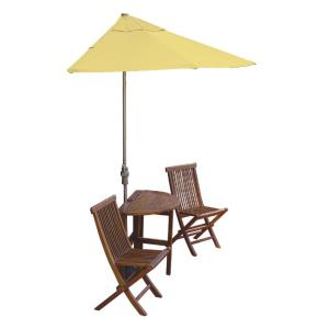 Terrace Mates Caleo Economy - 7.5'  Half-Canopy Umbrella with Half-Round Table Set