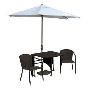 Terrace Mates Daniella - 9'  Half-Canopy Umbrella with Square Table Set