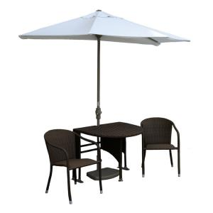 Terrace Mates Genevieve - 9'  Half-Canopy Umbrella with Half-Oval Table Set