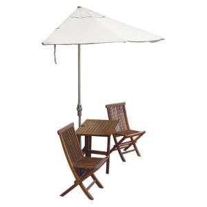 Terrace Mates Villa Premium - 9'  Half-Canopy Umbrella with Half-Square Table Set
