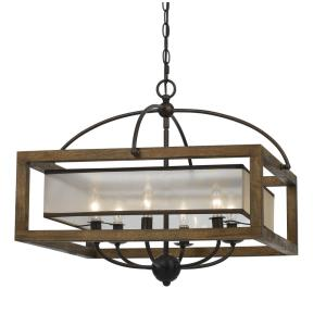 Mission - Six Light Square Chandelier