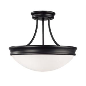 14 Inch 3 Light Semi-Flush Mount - in Traditional style - 14 high by 11.75 wide