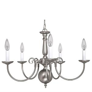 Chandelier 5 Light Matte Nickel - in Traditional style - 24 high by 17 wide