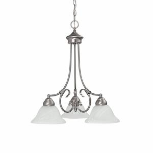 Hometown - Chandelier 3 Light Matte Nickel  - in Traditional style - 22 high by 23 wide