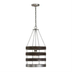 Ashton - 13 Inch 1 Light Pendant - in Urban/Industrial/Industrial/Farmhouse/Rustic/Mixed Materials style - 13 high by 25.25 wide
