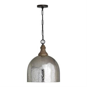 19.25 Inch 1 Light Pendant - in Urban/Industrial/Farmhouse/Rustic/Mixed Materials style - 15 high by 19.25 wide