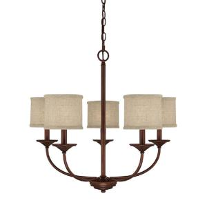 Loft - Chandelier 5 Light Burnished Bronze  - in Transitional style - 27 high by 24.5 wide