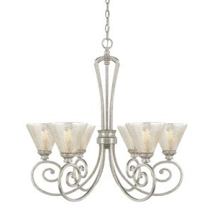 Corrigan - Chandelier 6 Light Antique Silver Steel - in Traditional style - 28.5 high by 27 wide