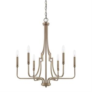 Dawson - Chandelier 6 Light Aged Brass Steel - in Transitional style - 24.75 high by 29.5 wide