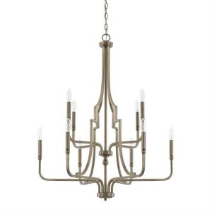 Dawson - 2-Tier Chandelier 10 Light Aged Brass Steel - in Transitional style - 30 high by 38.25 wide